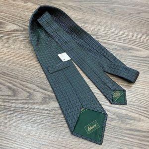 Brioni NWT Green w/ Blue & White Check Tie